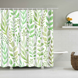 Seamless Light Green Spring Leaf Pattern Shower Curtain