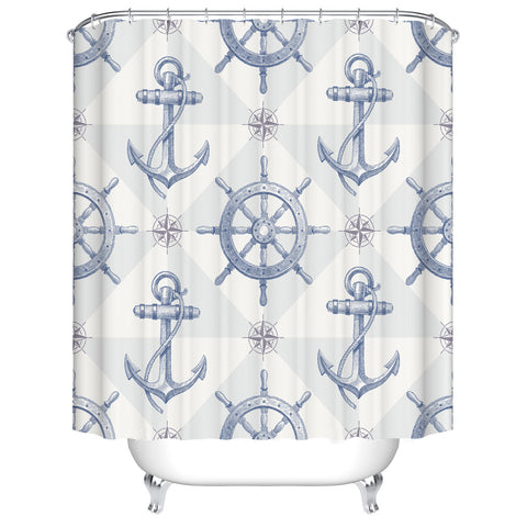 Seamless Navy Blue Anchor with Compass Wheel and Helm Marine Nautical Shower Curtain,