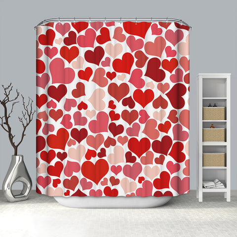 Seamless Red Heart Valentine Romantic Heart Shower Curtain