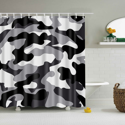 Seamless Abstract Black and White Ubran Camo Shower Curtain