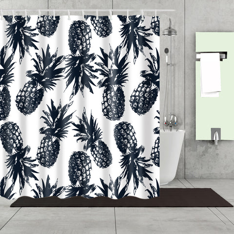 Seamless Black White Kingdom Pineapple Shower Curtain
