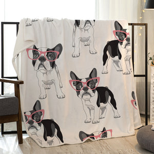 Seamless Boston Terrier with Pink Glass Quilted Throw Blankts