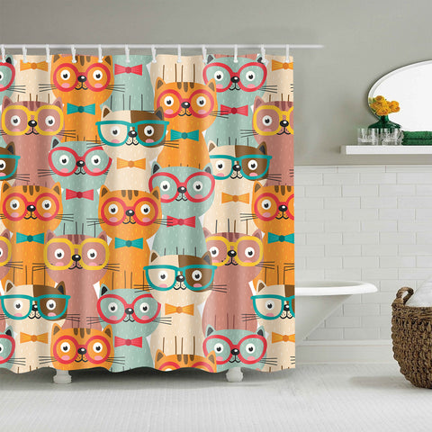 Seamless Colorful Cats in Glasses Shower Curtain