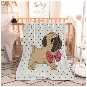 Seamless Dot Backdrop Cute Pug with Ribbon Quilted Throw Blankets
