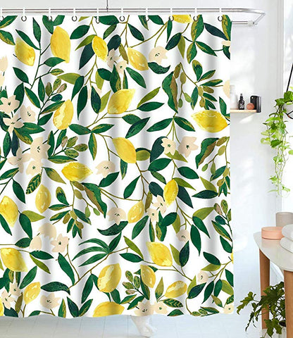 Seamless Fruit Pattern Yellow Lemon Shower Curtain