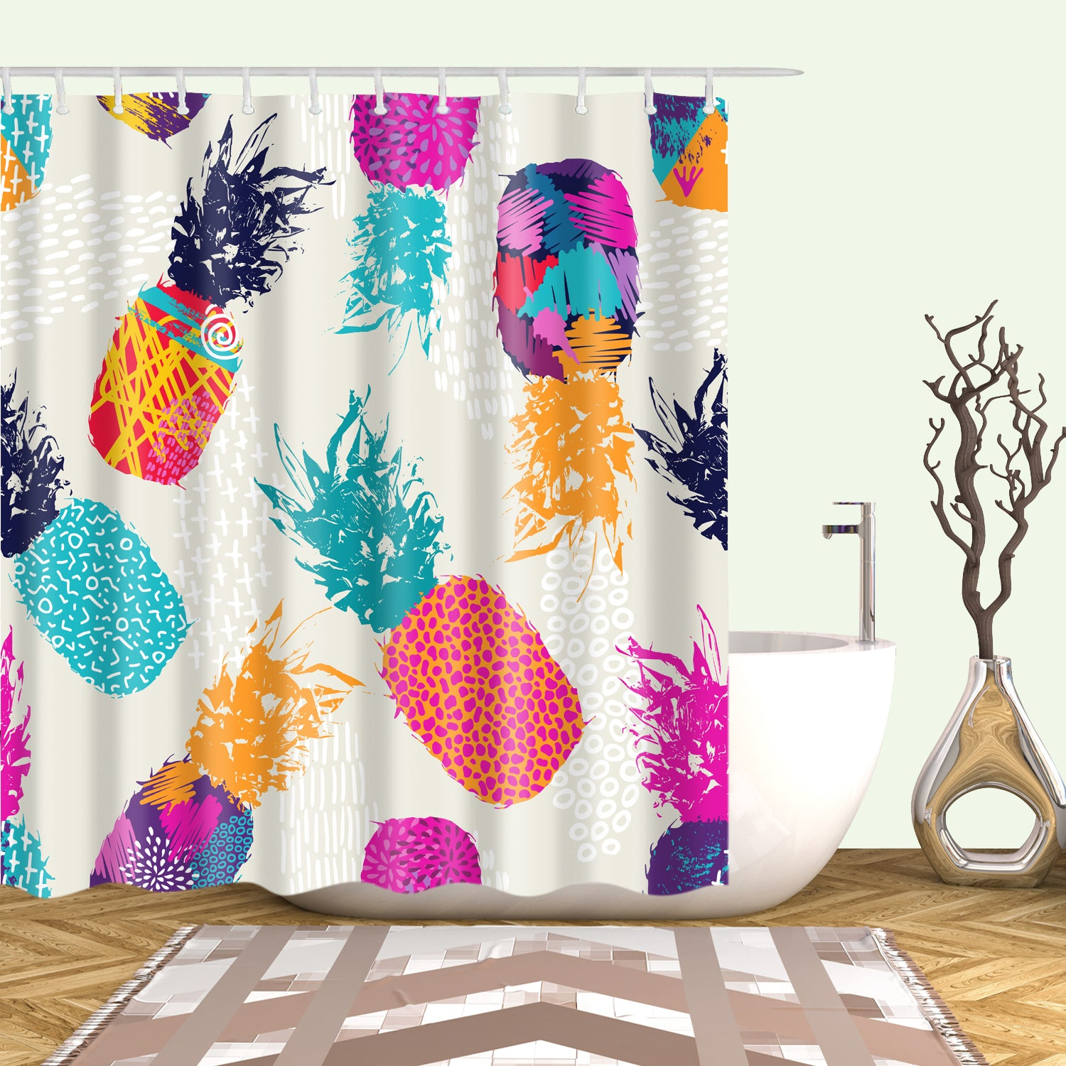 Seamless Pink Purple Pineapple Shower Curtain