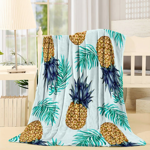 Seamless Retro Pineapple Throw Blanket