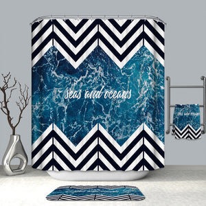 Seas and Oceans with Chevron Shower Curtain