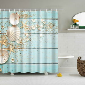 Seashell Starfish on Blue Deck Shower Curtain