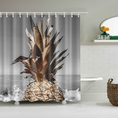 Seashore Fruit Photo Brown Pineapple Shower Curtain