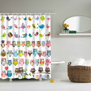 Set Color Cartoon Owls Birds Shower Curtain | GoJeek