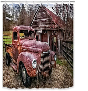 Shabby Old Red Truck with Cabin Shower Curtain