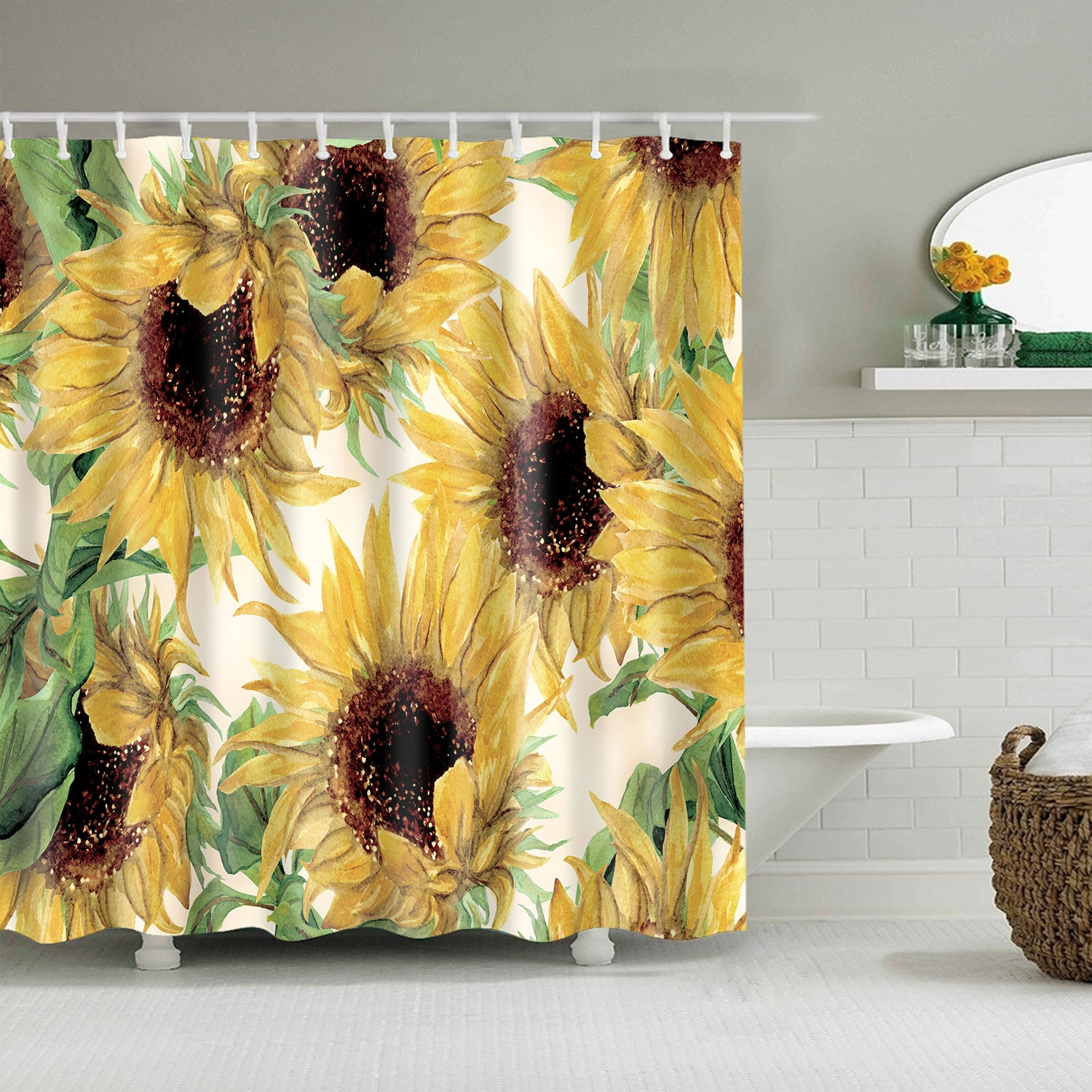 Shabby Chic Common Sunflower Yard Daisy Shower Curtain