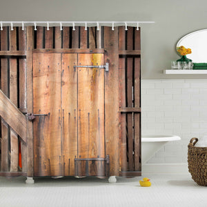 Shabby Chic Farmhouse Sliding Barn Door Shower Curtain