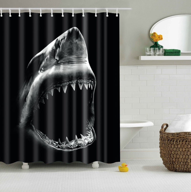 Shark Jaws Shower Curtain Black and Grey Bath Decor | GoJeek