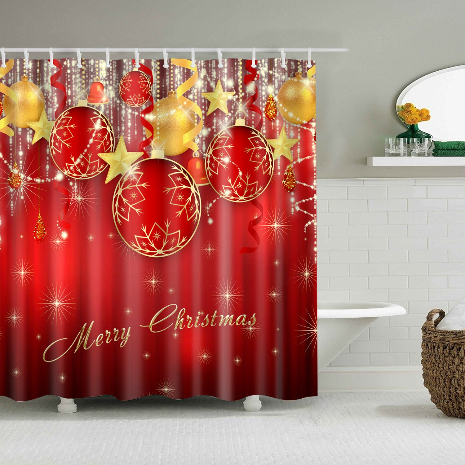 Shiny Christmas Baubles And Stars Shower Curtain