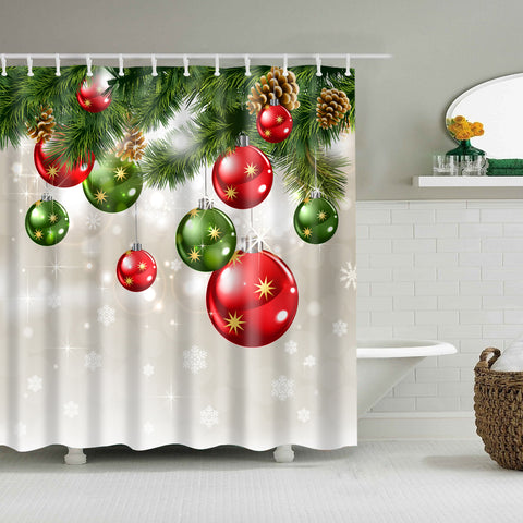 Shiny Colorful Christmas Ornament Shower Curtain Bathroom Decor