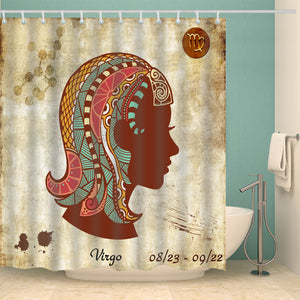 Sign Constellation Zodiac Symbol Virgo Shower Curtain