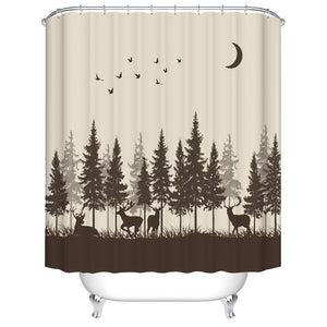 Silhouette of Forest Tree with Family Deer Shower Curtain
