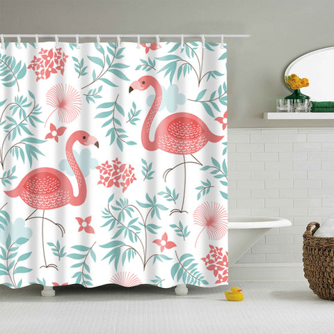 Simple Pink Flamingo with Green Plants Shower Curtain