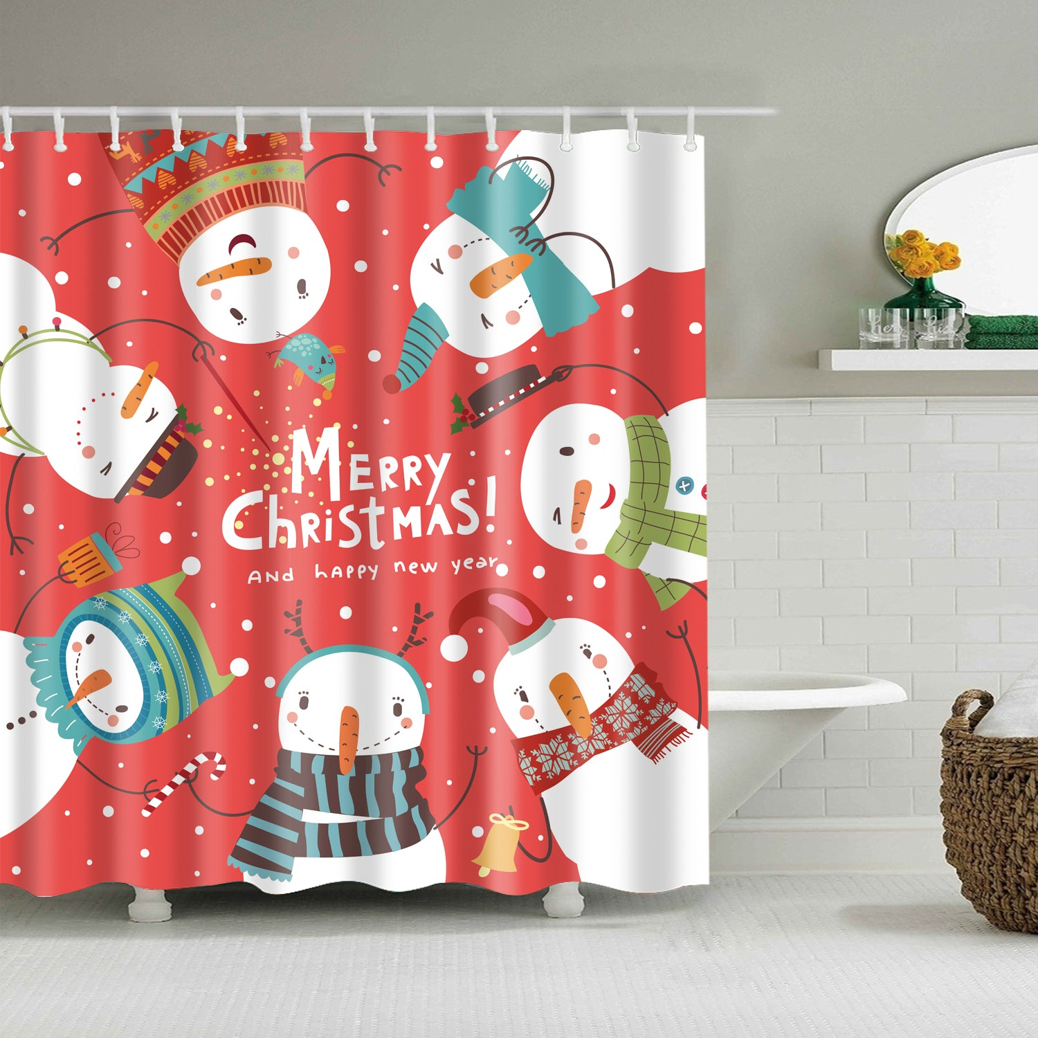 Six Different Snowman Happy Holiday Shower Curtain