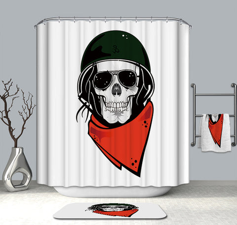 Skull In Military Helmet Shower Curtain