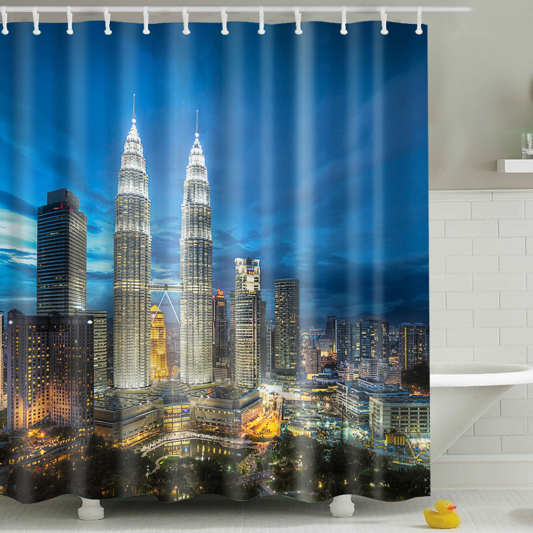 Skyline Building Cityscape Shower Curtain | GoJeek