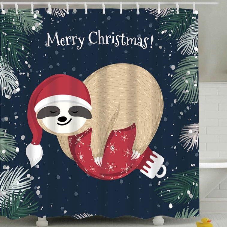 Sloth Holding Bubble Merry Christmas Shower Curtain