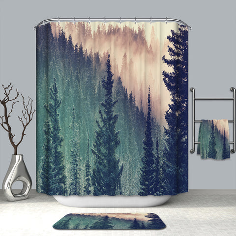Smoky Mountain con Green Tall Spruce Pine Tree Shower Cortina