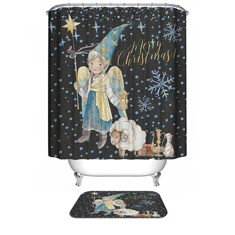 Snowflake Black Backdrop Christmas Guardian Angel Kids Prince with Sheep Prince Shower Curtain