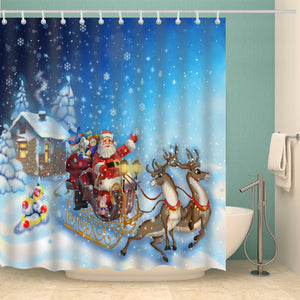 Snowflake Santa Reindeer Riding Sleigh Shower Curtain