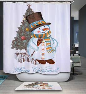 Snowman Leaning Against Christmas Tree Shower Curtain