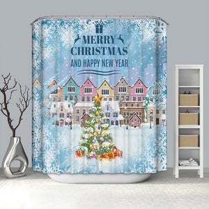 Snowy Day Colorful Christmas Town Shower Curtain