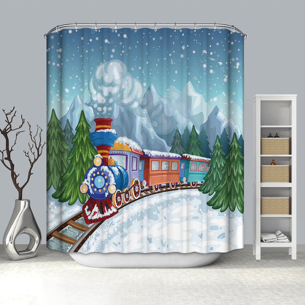 Snowy Day Colorful Christmas Train Shower Curtain