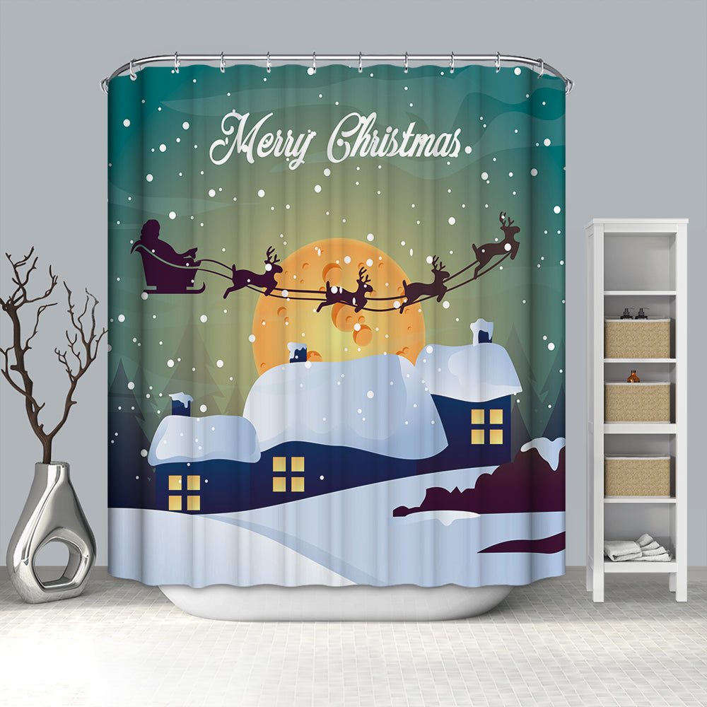 Snowy Night Blue House Yellow Moon Shower Curtain