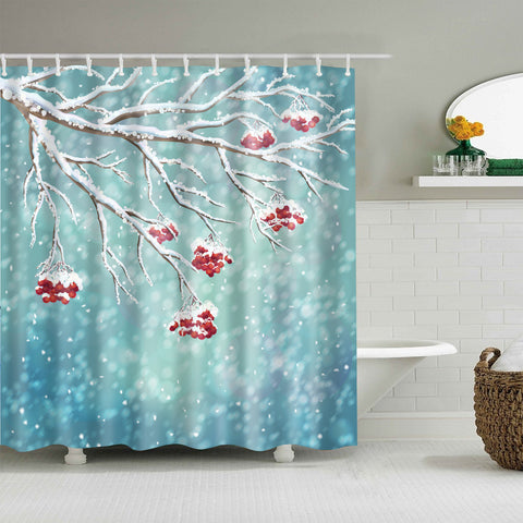 Snowy Winter Cherry Tree Shower Curtain