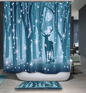 Snowy Winter Fallow Deer in Blue Forest Christmas Shower Curtain
