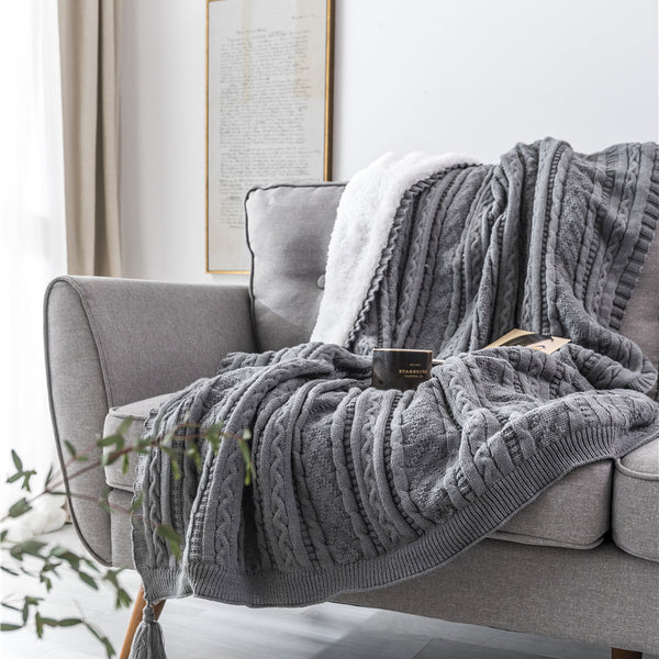 Solid Color Cable Knit Double Layer Sherpa Couch Throw Blanket