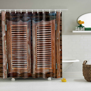 Southwestern Style Old Horizontal Striped Wood Door Shower Curtain