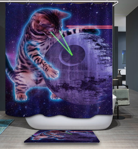 Space Cats with Lasers Shower Curtain