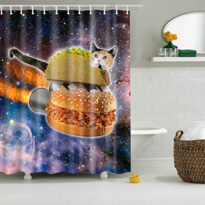 Space Hamburgers Cat Shower Curtain | GoJeek