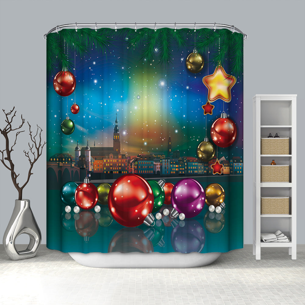 Sparking Colorful Christmas Ornaments Shower Curtain