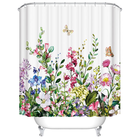 Spring Butterfly con Herb Leaves Wildflower Shower Curtain