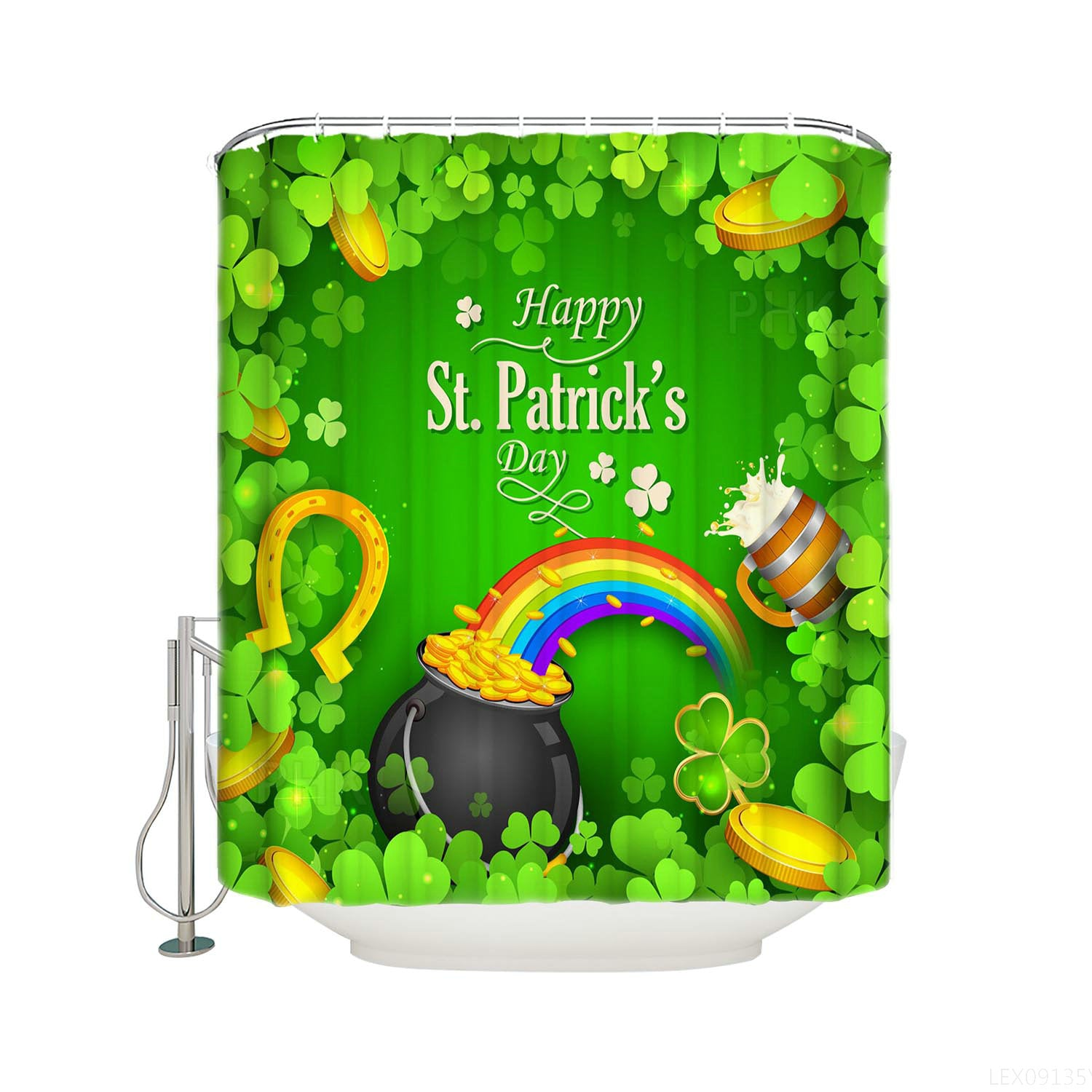 Spring Green Clover Leaf Shamrock Backdrop Gold Coin with Rainbow St Patty's Day Shower Curtain