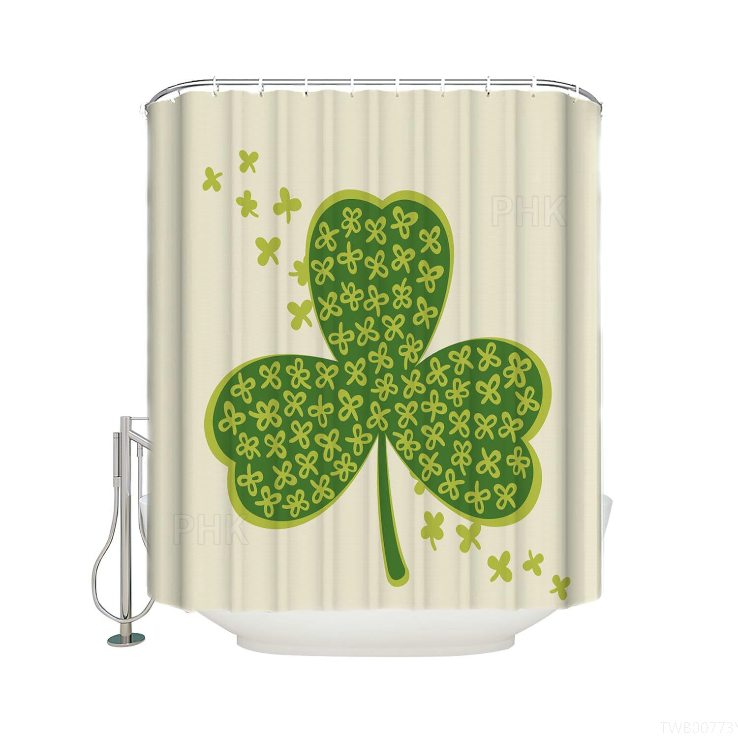 Spring Green Clover Leaves St. Patrick's Shamrock Shower Curtain