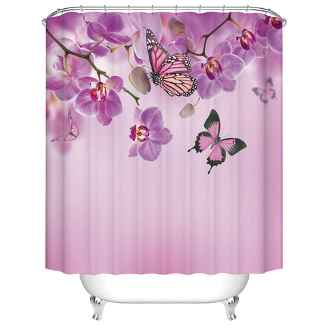 Spring Orchid Flowers Flutter Purple Butterfly Shower Curtain