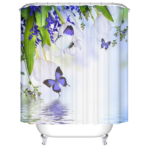 Spring River with White Flowers and Purple Butterfly Shower Curtain