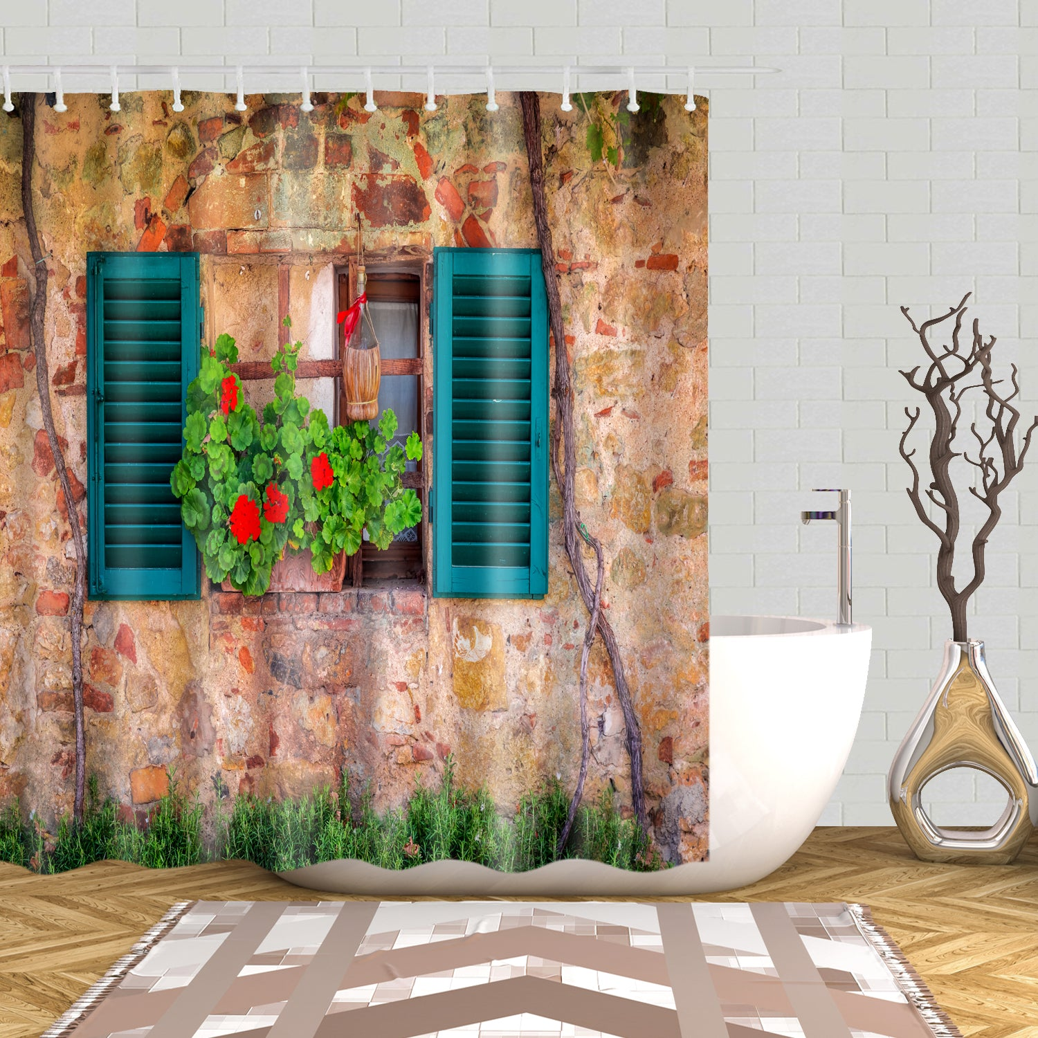 Spring Beautiful Window Decorated With Flowers Mural Shower Curtain