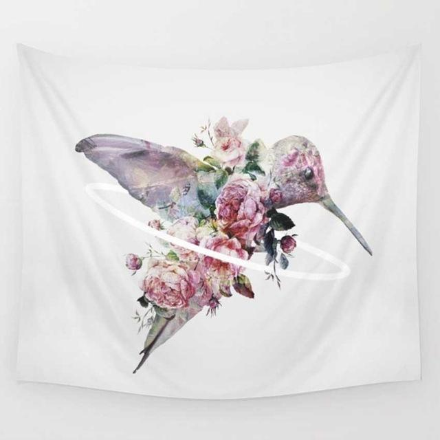 Spring Blooming Flowers with Hummingbird Tapestry