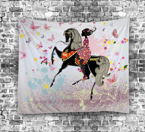 Spring Floral Fairy Girl Riding Horse Tapestry